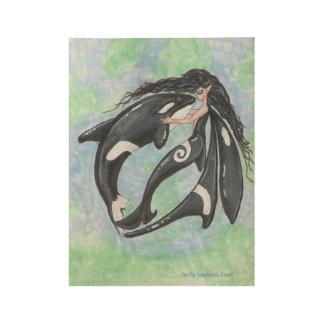 Mermaid Fairy Orca Killer Whale Wood Poster