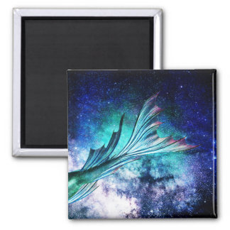 Mermaid Fin in Starry Nebula Magnet