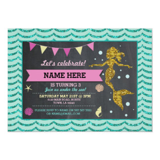 Mermaid Gold Pink Teal Glitter Invitation
