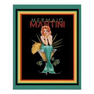 Mermaid Martini 16 x 20 Poster