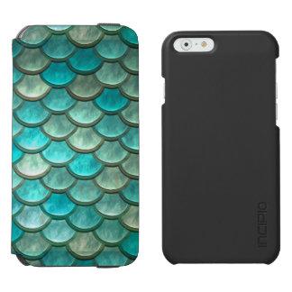 Mermaid minty green fish scales pattern incipio watson™ iPhone 6 wallet case
