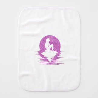 Mermaid on a rock - Pink Glitter Burp Cloth