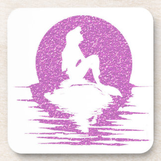 Mermaid on a rock - Pink Glitter Coaster