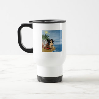 Mermaid on Beach Plastic Travel Mug