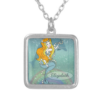 Mermaid Rainbow and Dolphin Illustration Design Silver Plated Necklace