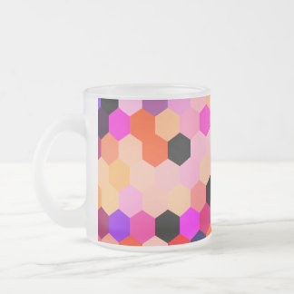 Mermaid Scales Lavender and Bittersweet Octagon Frosted Glass Mug