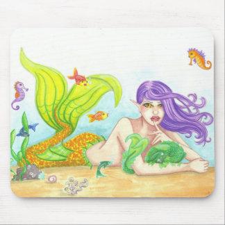 Mermaid + Sea Dragon fantasy art Mousepad