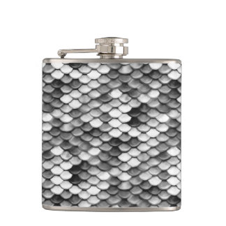 mermaid skin in black and white (pattern) hip flask