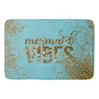 Mermaid Vibes- Gold Glitter Typography on Teal Bath Mat