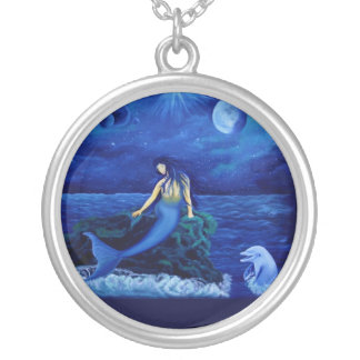 Mermaid with dolphin silver plated necklace
