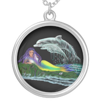 Mermaid with dolphins silver plated necklace