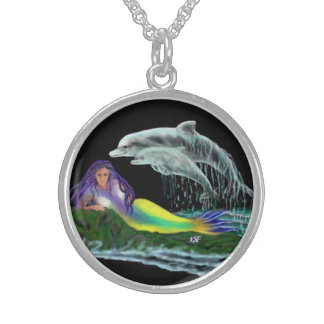 Mermaid with dolphins sterling silver necklace
