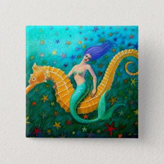 Mermaid's Ride- Seahorse 15 Cm Square Badge