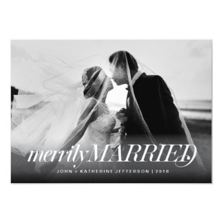 Merrily Married Newlywed Christmas Card 13 Cm X 18 Cm Invitation Card