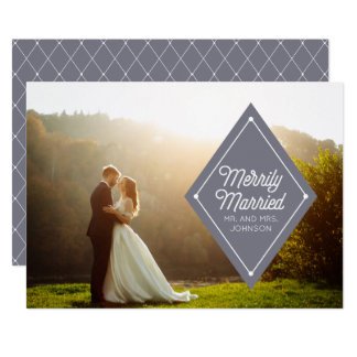 Merrily Married Wedding Announcement Holiday Photo