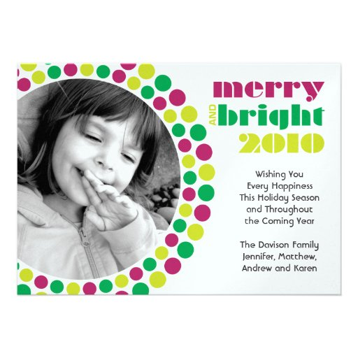 Merry and Bright 2010 Holiday Photo Card Personalized Invites
