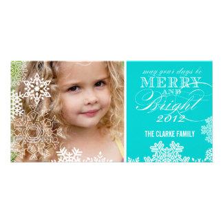 MERRY AND BRIGHT PHOTO CARD   AQUA BLUE