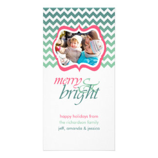 Merry and Bright Pink Aqua Holiday Photo Cards