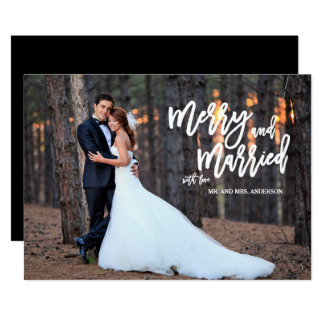 Merry and Married Brush Script Holiday Photo Card 13 Cm X 18 Cm Invitation Card