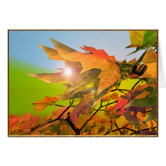 Merry Autumn Maple Leaves Card
