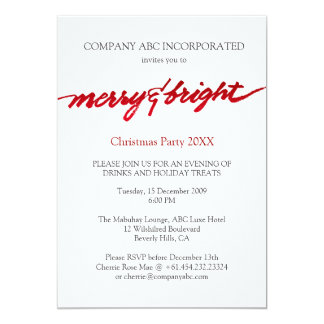 Merry & Bright Christmas Corporate Party 13 Cm X 18 Cm Invitation Card