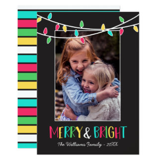 Merry & Bright - Colourful String Lights - Photo Card