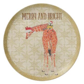 Merry & Bright Giraffe With Bird Plate