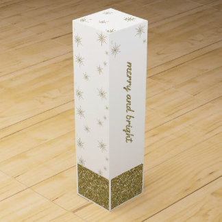 Merry & Bright, Gold Glitter Snowflakes Wine Box