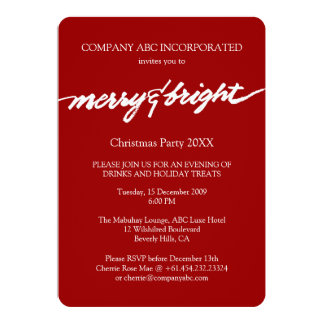 Merry & Bright Red Christmas Corporate Party 13 Cm X 18 Cm Invitation Card