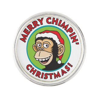 Merry Chimpin' Christmas Greeting Lapel Pin