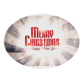 Merry Christmas and Happy New Year Porcelain Serving Platter