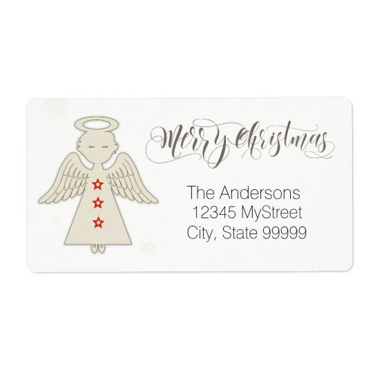 Merry Christmas Angel Shipping Label
