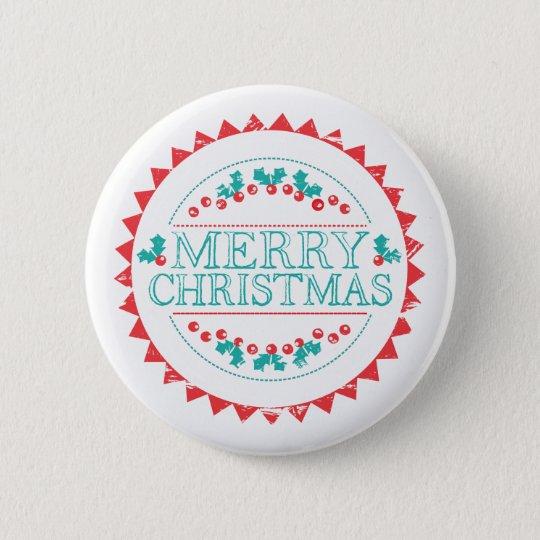 Merry Christmas Aqua & Red Chalk Stamp Typography 6 Cm Round Badge