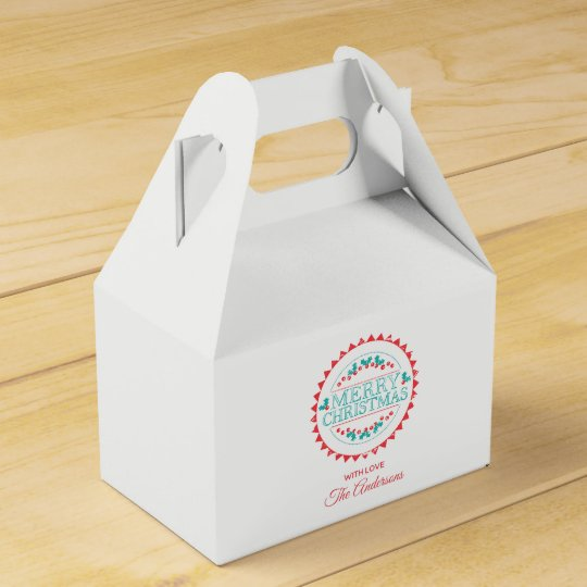 Merry Christmas Aqua & Red Chalk Stamp Typography Favour Box