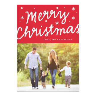 Merry Christmas Brush Lettering Holiday Photo Card