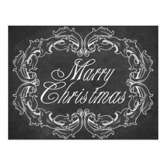 Merry Christmas card vintage chalkboard