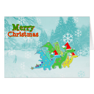 Merry Christmas Cartoon Dragons Greeting Cards