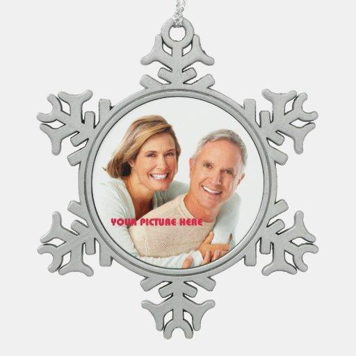 Merry Christmas. Custom Photo Snowflake Ornaments Ornament