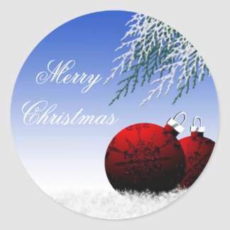 Merry Christmas Customizable Holiday Cards Seals Round Sticker