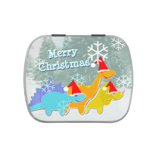 Merry Christmas Cute Cartoon Dinosaurs Jelly Belly Tin