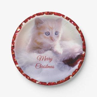 Merry Christmas Cute Kitten Santa Hat Paper Plates