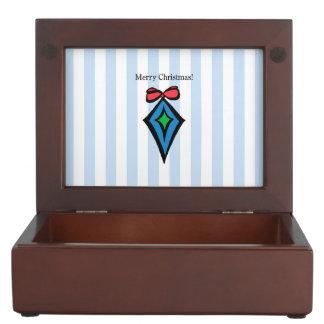 Merry Christmas Diamond Ornament Keepsake Box Blue