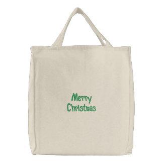 Merry Christmas Embroidered Bag