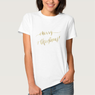 Merry Christmas Faux Gold Foil Script Lettering Tshirts