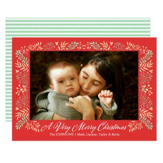 Merry Christmas Foliage Frame Holiday Photo Card