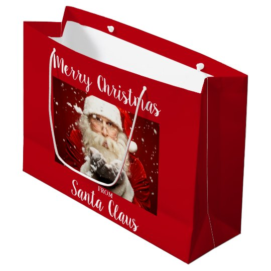 Merry Christmas From Santa Claus Red Large Gift Bag
