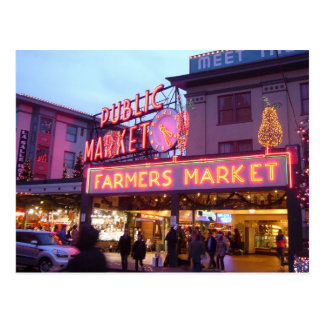 Merry Christmas from Seattle Pike Place Market Postcard