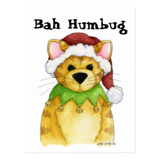 Merry Christmas from the Cat Bah Humbug Postcard
