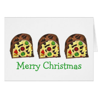 Merry Christmas Fruit Cake Fruitcake Slice Cards