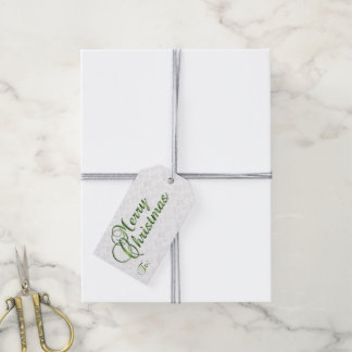 Merry Christmas Gift Tag in Green & Silver
